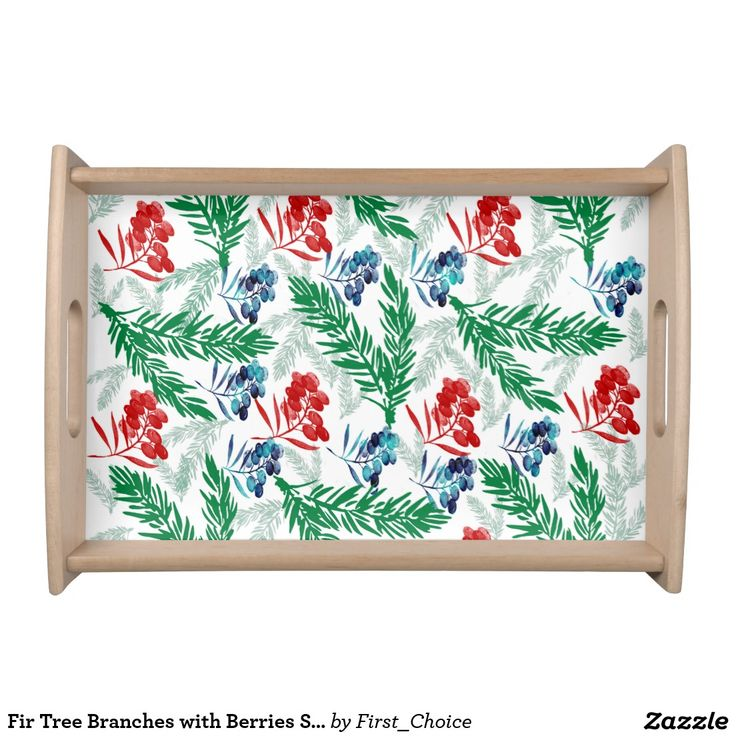 Fir Tree Branches with Berries Serving Tray