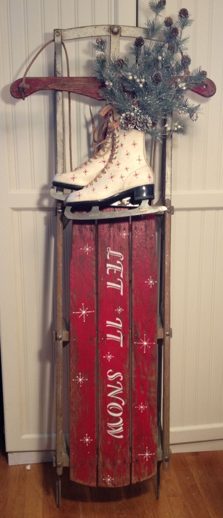 Antique sled hand painted let it snow snowflakes hand painted ice skates figure skates red white