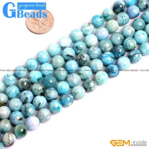 "Natural Blue Hemimorphite Round Stone Beads For Jewelry Making Free Shipping 15"""