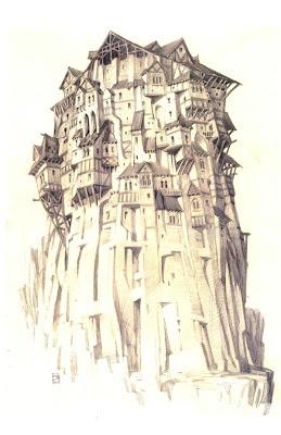 Tower. Pencil sketch. 1996. Copyright Dreamworks.