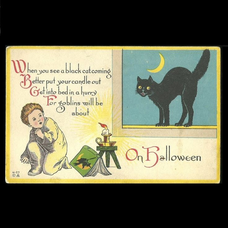 Halloween Postcard of Frightened Young Boy, Black Cat & Witch Tales at Tannery Creek Antiques.