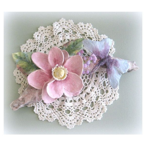 Shabby Chic Pink Flower Wall Hanging Magnolia Wall Flower Sculpture Floral Wall Hanging Clay Flower Wall Sculpture Flower Centerpiece ($35) found on Polyvore featuring home, home decor, pink floral centerpieces, shabby chic centerpieces, shabby chic home accessories, magnolia centerpiece and pink centerpieces