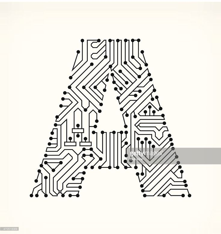 letter a circuit board on white background