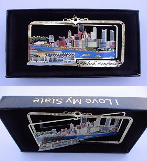 Pittsburgh PA Brass Ornament City Skyline Football Stadium