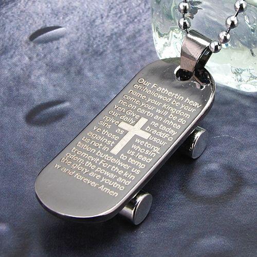 Pandantiv skateboard cu elemente religioase otel inoxidabil