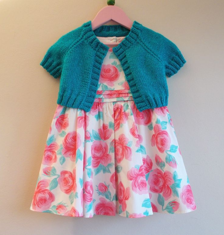 marianna's lazy daisy days: Turquoise Sparkle Girl's Short Cardi / Shrug