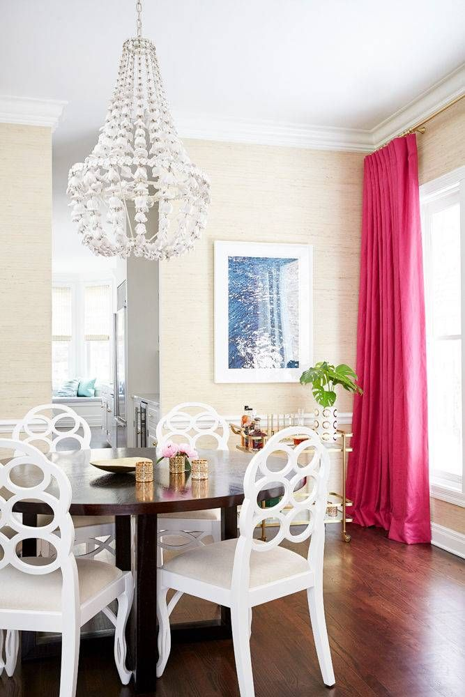 A Warm White Grasscloth Wall Covering Adds Textural Interest And Spatial Definition To The Dining Room Which Is Centered About Sculptural Chandelier