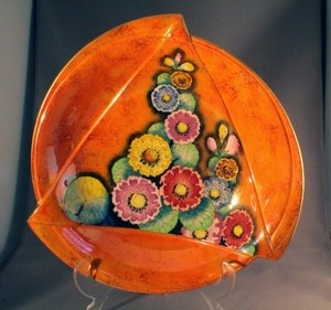 CARLTON WARE HOLLYHOCKS LARGE ART DECO BOWL - have an oval one in same design
