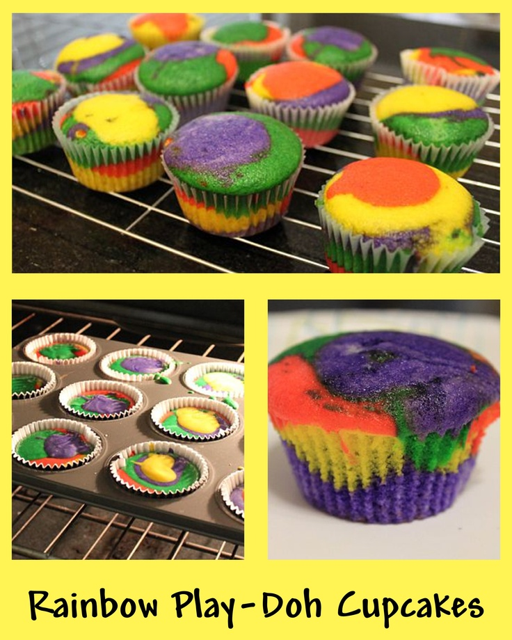 """rainbow """"play-doh"""" cupcakes...  use white cake mix. divide into small bowls and color with gel food coloring (gel coloring makes it brighter!) then add by spoonfuls, layering the colors so they don't mix. :)"""