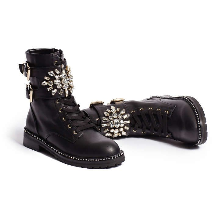 Stoop Black Leather Crystal Biker Boots By Kurt Geiger London In