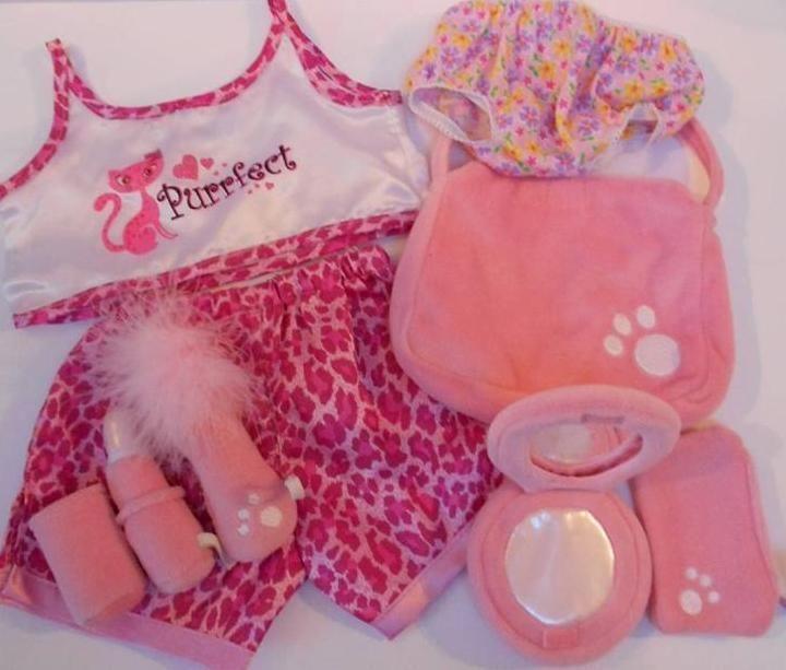 Build A Bear Workshop Bear factory Clothes & Pink Make Up Accessories Bundle Lot