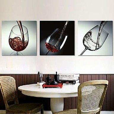 Stretched Canvas Print Art Still Life Red Wine Glass Set of 3 – USD $ 59.99