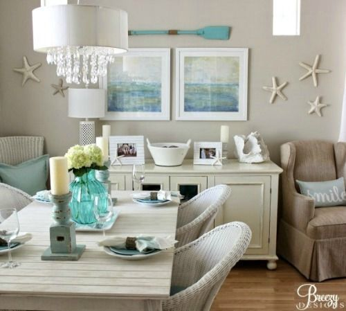 This is so elegant but at the same time the starfishes and other beach decorations give the  space an amazing, beachy feel. This is an amazing idea for a beach lover home!! #Maristella890