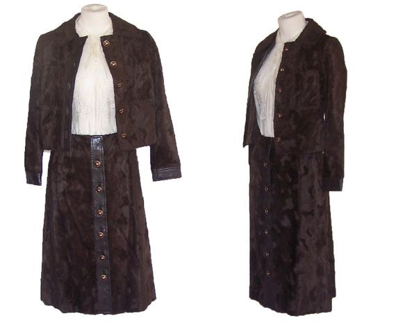 1970s Suit Vintage Faux Fur Outfit Brown Edgy Hipster S Free Domestic and Discounted International Shipping