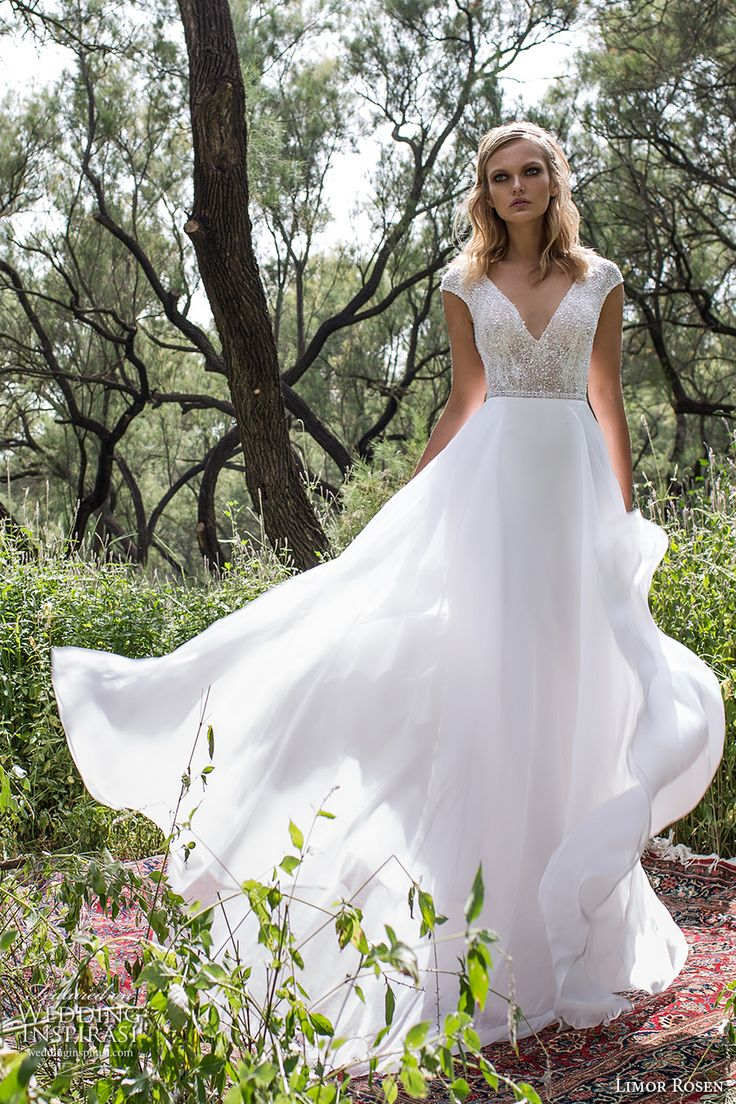 limor rosen 2017 bridal cap sleeves v neck heavily embellished bodice a  line wedding dress scoop back sweep train (delphine) mv
