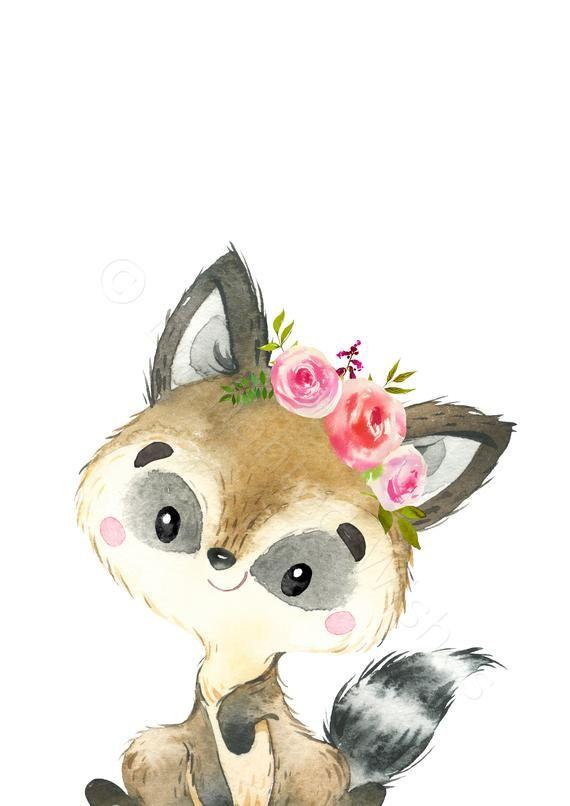Mädchen Wald Kinderzimmer Drucke 10er-Set, rosa Blumen Wald Tierdrucke, Blumen Wald Thema Kindergarten, Mädchen Tier Kinderzimmer Dekor   – Bilder