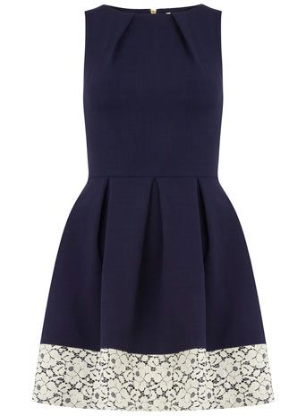Closet Navy contrast hem pleat dress - Dorothy Perkins - Love the idea of throwing on a thick band of lace to a dress that is more mini instead of midi.