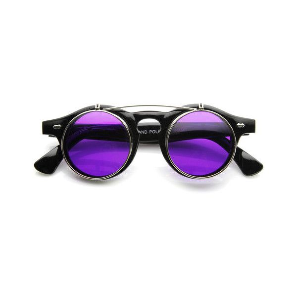 Retro Steampunk Round Circle Flip Up Color Tinted Sunglasses 8850 ($9.99) ❤ liked on Polyvore featuring accessories, eyewear, sunglasses, glasses, occhiali, steampunk, keyhole sunglasses, flip sunglasses, retro circle sunglasses and round lens sunglasses