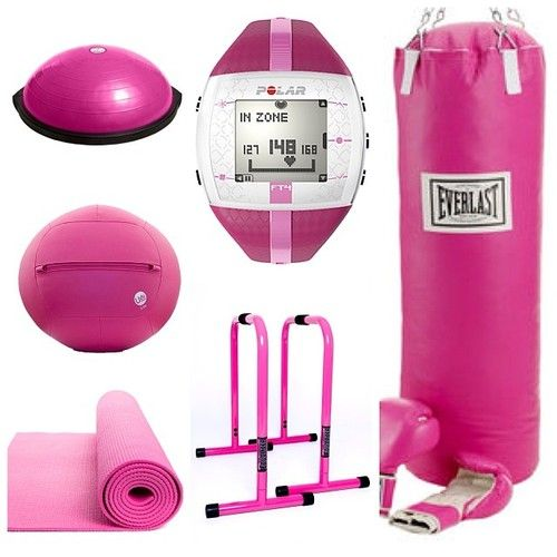 Must-Haves For A Pink Home Gym.   Pink gym equipment - Pink Bosu Ball, Pink Ugi Ball, Pink Yoga mat, Pink Polar Watch, Pink Lebert Equalizer, and Pink Everlast Heavy Bag. Pink Gym