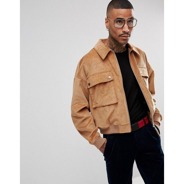 ASOS Cord Oversized Harrington Jacket in Tan (865.300 IDR) ❤ liked on Polyvore featuring men's fashion, men's clothing, men's outerwear, men's jackets, tan, mens corduroy jacket, mens oversized denim jacket, asos mens jackets, mens zip jacket and mens tan jacket