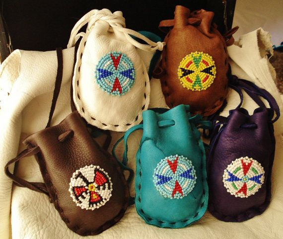 Handmade Native American Medicine Bags im going to rough it up a little so looks old   man she is totally gonna fall for this!!!