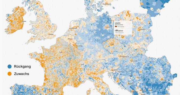 Die bisher detaillierteste interaktive Karte über Europas Einwohner zeigt die unterschiedliche Bevölkerungsentwicklung in 119.406 Gemeinden.