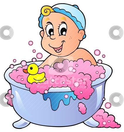 Child Taking A Bath Clipart