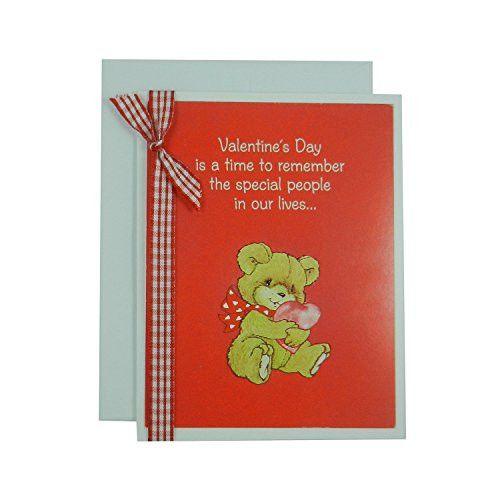 Valentine's Day Greeting Card - Handmade Recycled - Teddy Bear Valentine's Day Card