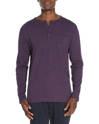 Raw Edge Long Sleeve Pocket Henley. Unsimply Stitched Loungewear. sleepwear. Men's loungewear. Men's knits. Men's sleepwear