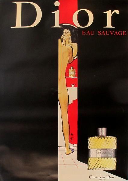 1979 Vintage Dior Perfume Advertisement, Eau Sauvage (bathroom)