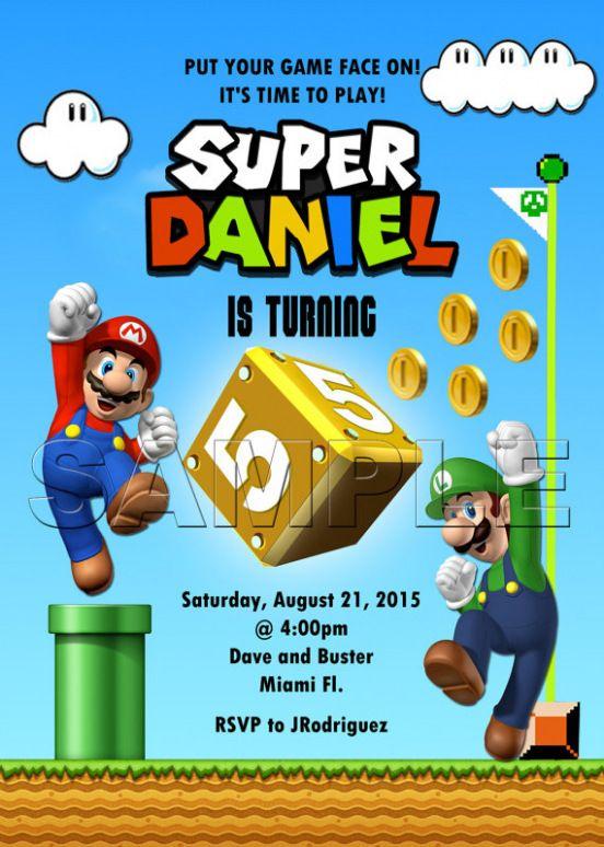 Resultado De Imagen De Mario Bros Party Invitation Cumple Super