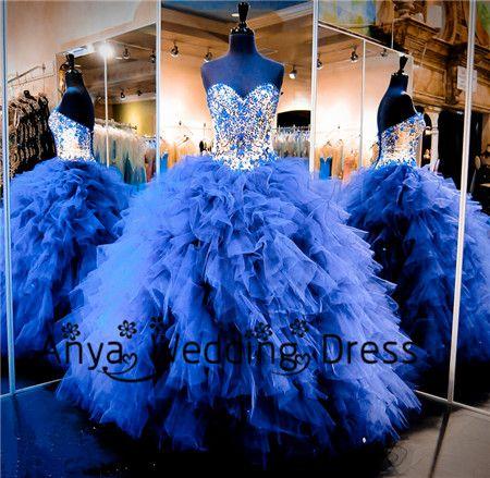 Beading Crystal Cinderella Princess Quinceanera Dress Stores Pattern Sweet 16 Blue Prom Ball Gown Vestido De Quinceaneras