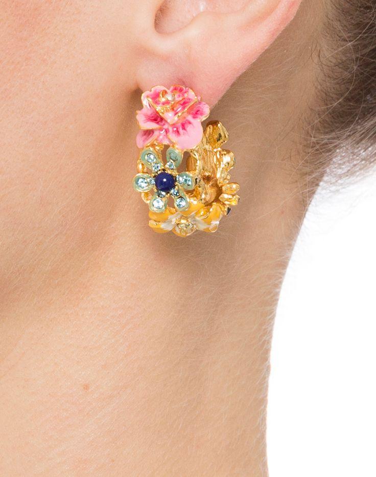 Flower Hoop Clip Earrings | Kenneth Jay Lane | Halsbrook