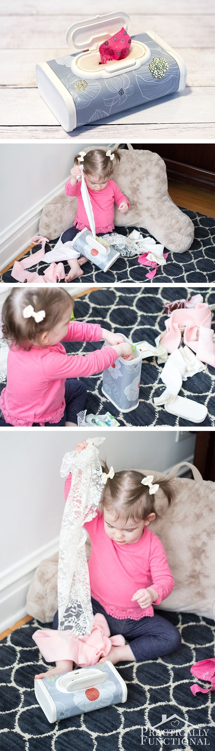 Fill an empty wipes container with a bunch of fabric scraps to keep your toddler happy, entertained, and out of your hair for a while!