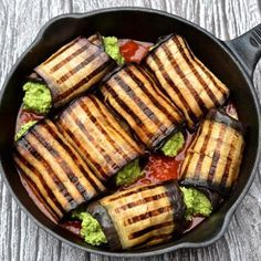 Vegan cannelloni, grilled eggplant wrapped around a creamy spinach & basil filling & served with tomato sauce (paleo, vegan)