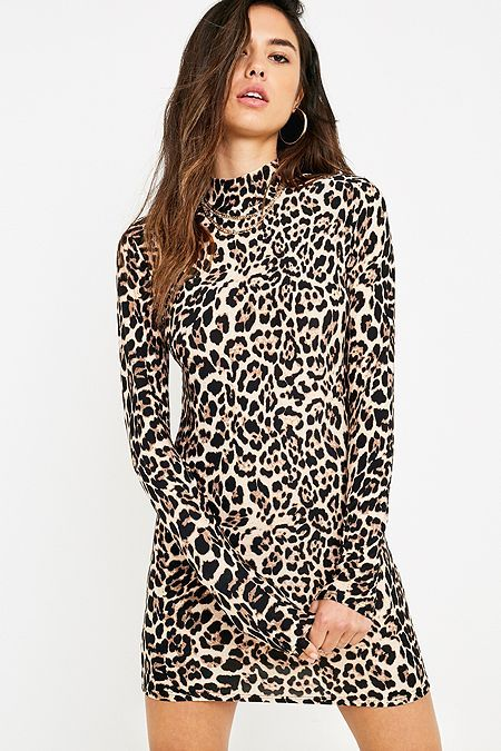 873a494b9c6c Urban Renewal Remnants Leopard Print Long-Sleeve Funnel Neck Dress ...