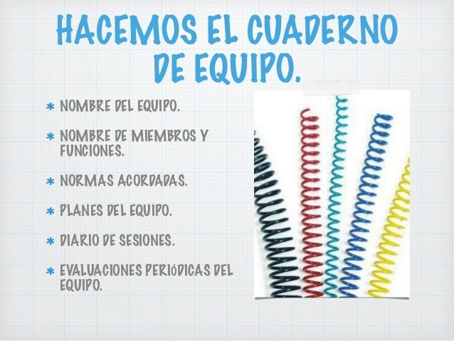 HACEMOS EL CUADERNO DE EQUIPO. NOMBRE DEL EQUIPO. NOMBRE DE MIEMBROS Y FUNCIONES. NORMAS ACORDADAS. PLANES DEL EQUIPO. DIA...