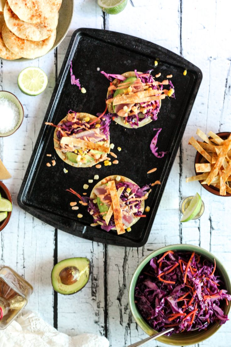 Check out fresh tuna fish tacos with adobo crema red for Tuna fish tacos