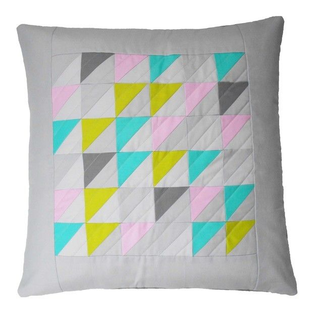 Geometric Cushion by Flamingo Tree. Hand crafted quilted luxury cushion