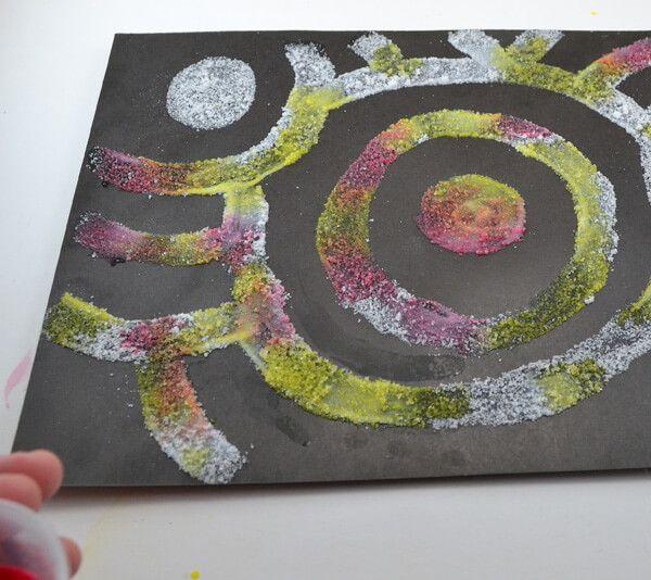 Salt paintings are lots of fun for kids and grownups alike!