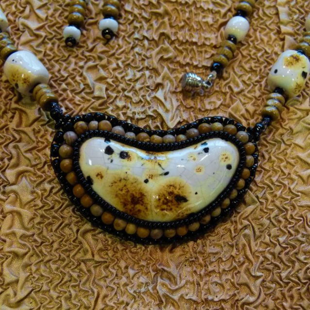 Beaded ceramic cabochon and earring set in white, cream, brown and black. Hand crafted by Kathy Stewart - Glam N Glitter Eclectic Jewelry.