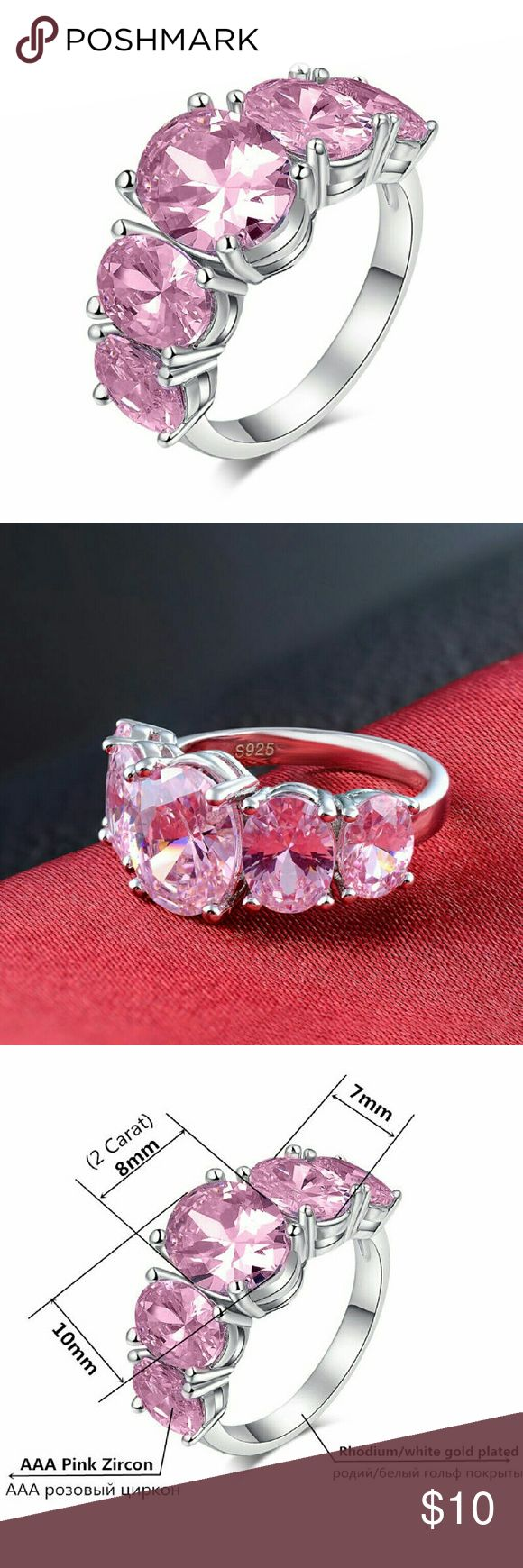 S925 Silver Plate CZ Pink Ruby Fashion Weding Ring Here we have a cubic zirconia Pink Ruby S925 Silver Filled Wedding, Engagement & Anniversary Ring!  Gorgeous fashion, wedding, anniversary or for daily wear or evenings.   Women's ring sizes available: 6, 7, or 8 (Pls comment or msg us for size)  100% brand new, we took out of pack for display photo only.  While they last! Limited quantities available! If sold in our actual store in NYC, this means it is no longer available here as well, we…