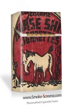 Unusual vintage cigarette pack cover used as a design on a Smoke Screenz cigarette case