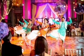 Bhangra Dancers at Reception |   Photography: Premack Weddings. Read More:  http://www.insideweddings.com/weddings/dual-ceremony-with-indian-and-western-traditions/758/