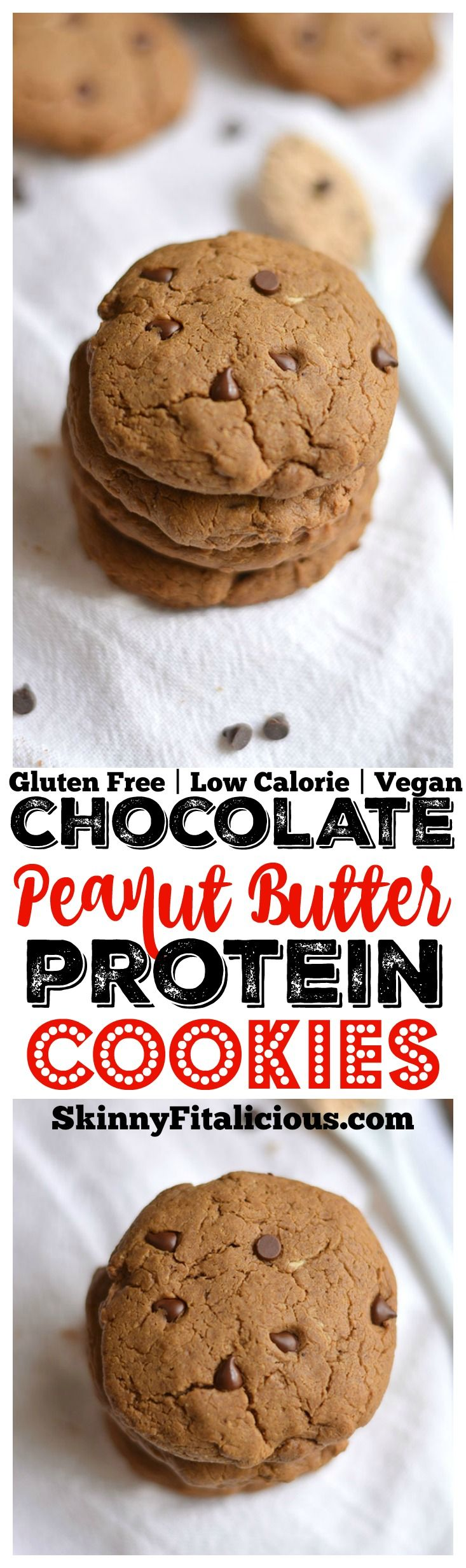 Thick & chewy Chocolate Peanut Butter Protein Cookies made with whole food ingredients, no oil or refined sugar. Just real food! An outrageously delicious snack that's only 69 calories. Gluten Free +  (Whole Food Vegan Recipes)