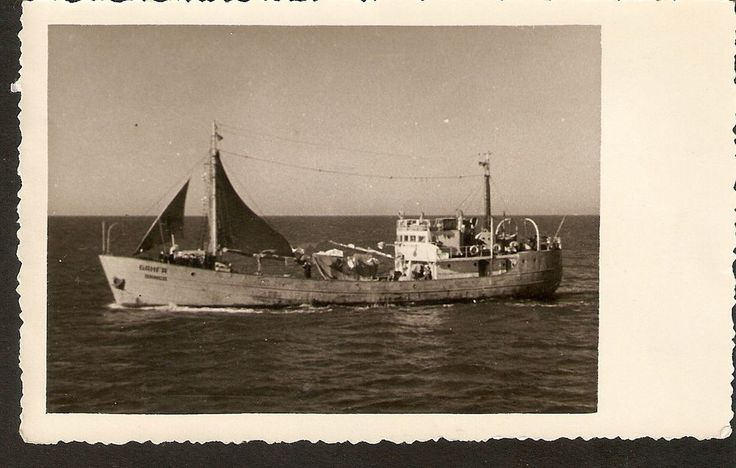 Vintage Old Latvia Marine Sea transport Ship Fishing boat BANGA real photo