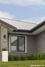 resene masala exterior colour scheme for your corrogated iron and weather boards, sofiets look fine still painted cream - a nice charcoal grey would tie in with your grey bricks, and conrast with your roof and a matching entry and garage door colour