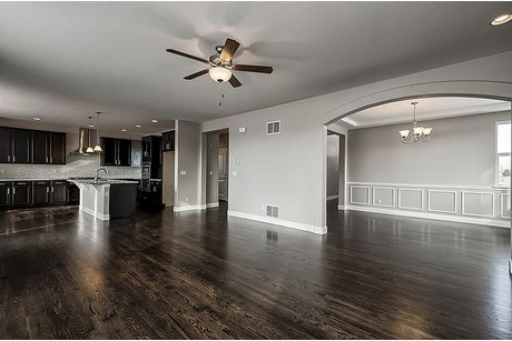 Open Floor plan. Kitchen to Family room to Dining