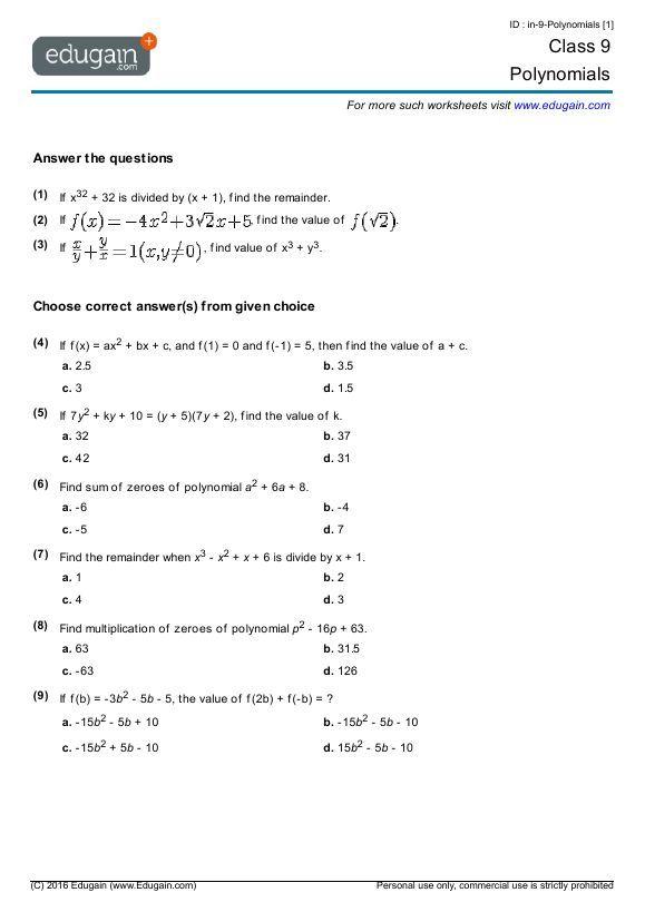 20 Polynomials Class 9 Worksheet Polynomials Math Worksheets
