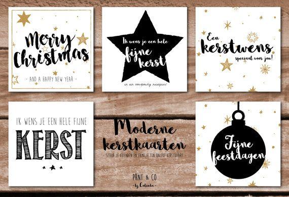 Set hippe kerstkaarten met envelop 5 stuks van PRNTenCo op Etsy